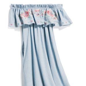 Floral Embroidered Off the Shoulder Dress
